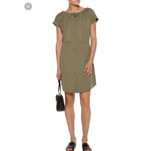 Theory Mettie Olive Green Military Shirt Dress